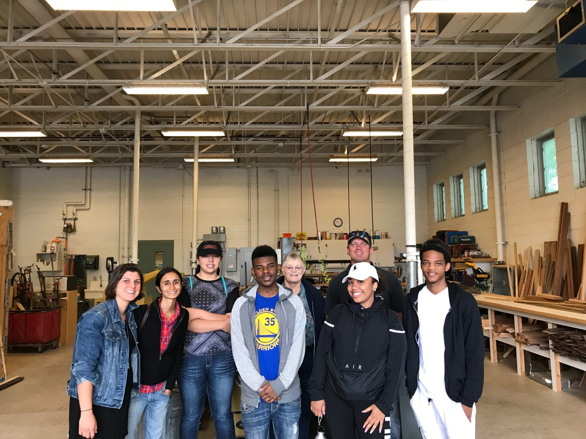 The team in Madison Parks wood shop